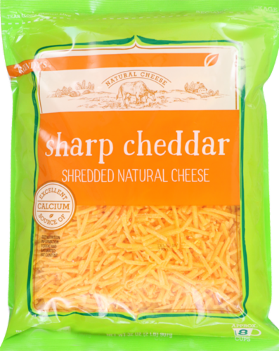 Roundy's Shredded Sharp Cheddar Cheese Perspective: front