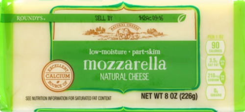 Roundy's Chunky Mozzarella Cheese Perspective: front