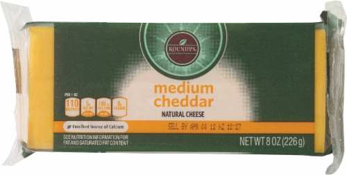 Roundy's Chunk Medium Cheddar Cheese Perspective: front
