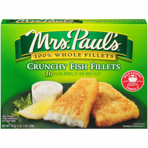Mrs. Paul's Crunchy Fish Fillets 10 Count Perspective: front