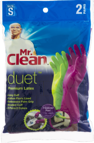 Mr. Clean® Duet Small Premium Latex Gloves - 2 pk Perspective: front