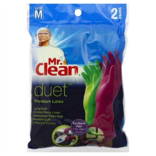 Mr. Clean Medium Duet Premium Latex Gloves 2 Pack - Green/Purple Perspective: front