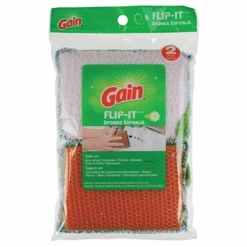 Gain Flip-It Sponge - 2 Pack - Orange/White Perspective: front