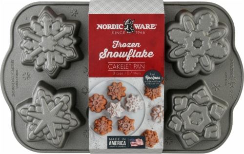 Nordic Ware Snowflake Cakelets Pan - Platinum Perspective: front