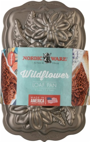 Nordic Ware Wildflower Loaf Pan Perspective: front