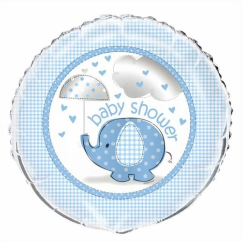 Umbrellaphants Baby Shower - Blue Round Foil Balloon 18 Inches Perspective: front