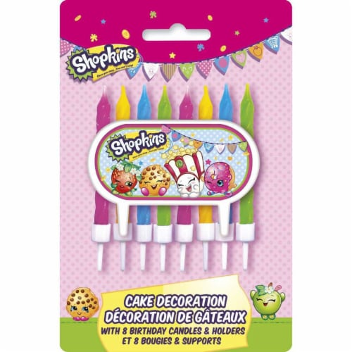 Shopkins Cake Decoration and Candles Perspective: front