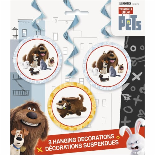 The Secret Life of Pets Hanging Swirl Party Decorations [3 per Pack] Perspective: front