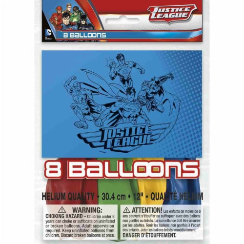 Justice League Latex Balloons [8 per Pack] Perspective: front