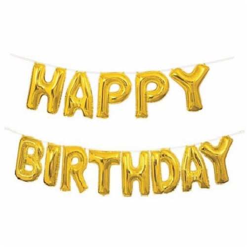 Happy Birthday Balloon Banner Kit Perspective: front