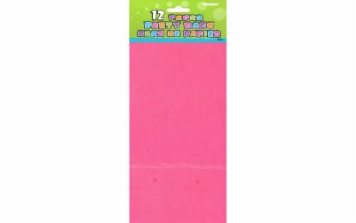 Unique Paper Party Bag 10x5  Hot Pink 12pc Perspective: front
