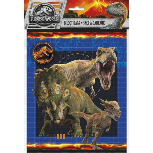 Jurassic World Plastic Loot Bags [8 Per Pack] Perspective: front
