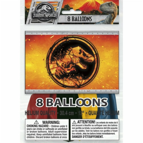 Jurassic World Birthday Party Latex Balloons [8 Per Pack] Perspective: front