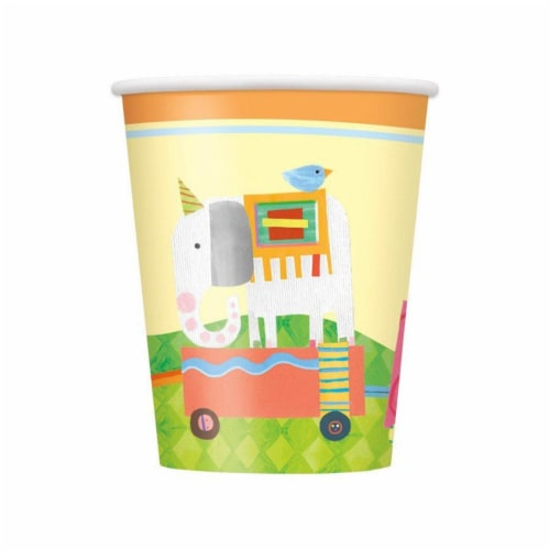 Unique Industries 641837 9 oz Circus Animal Paper Cups - Pack of 8 Perspective: front