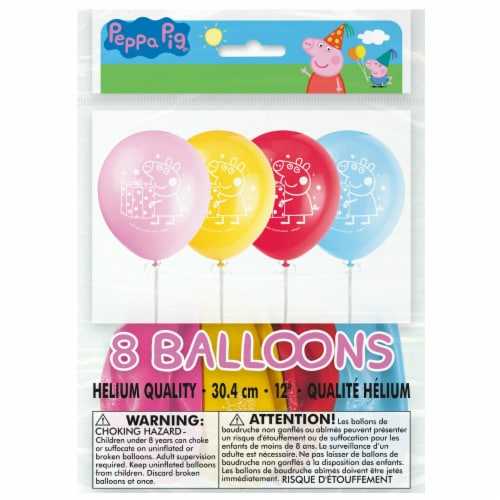 Peppa Pig Birthday Party Latex Balloons 8ct Perspective: front