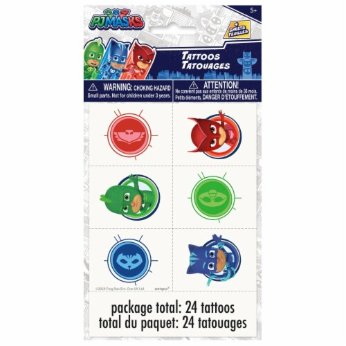 PJ Masks Birthday Party Tattoos 24ct Perspective: front