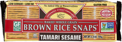 Edward & Sons Tamari Sesame Brown Rice Snaps Perspective: front