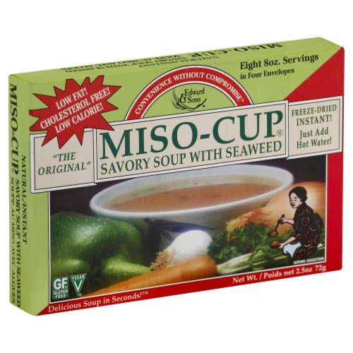 Edward & Sons Miso-Cup Savory Soup With Seaweed Packets Perspective: front