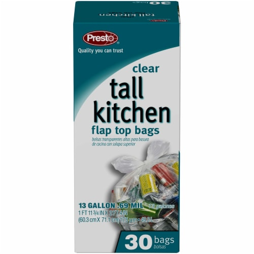 Presto Clear Tall Kitchen Flap Top Trash Bags Perspective: front