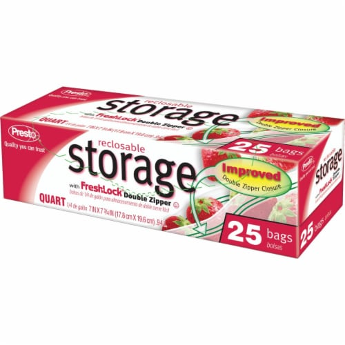 Presto 1 Qt. Reclosable Food Storage Bag (25 Count) CO3715S Perspective: front
