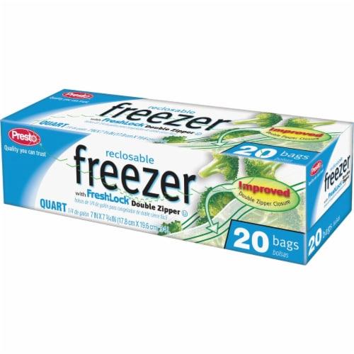 Presto 1 Qt. Reclosable Double Zipper Freezer Bag (20 Count) C003710S Perspective: front