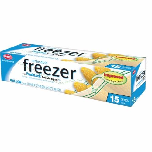 Presto 1 Gal. Reclosable Double Zipper Freezer Bag (15 Count) CO3708S Perspective: front
