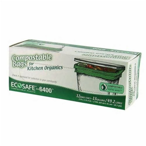 EcoSafe-6400 13 Gal. Compostable Green Trash Bag (12-Count) C032194S Perspective: front