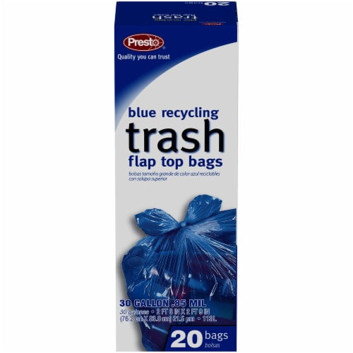 Presto Blue Recycling Flap Top 30 Gallon Trash Bags Perspective: front