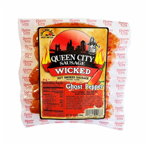 Queen City Sausage Wicked Ghost Pepper Hot Smoked Sausage Perspective: front