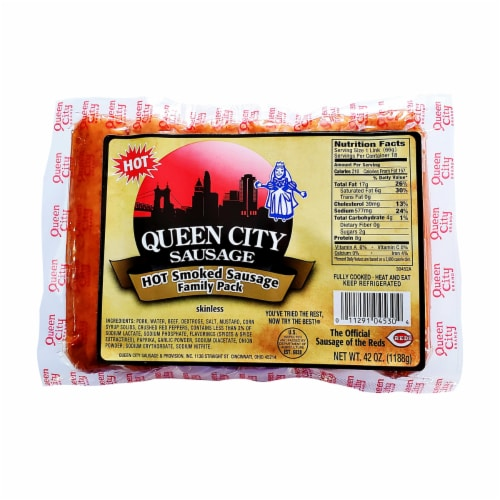 Queen City Sausage Skinless Hot Smoked Sausage Famly Pack Perspective: front