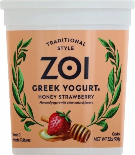 Zoi Honey Strawberry Greek Yogurt Perspective: front