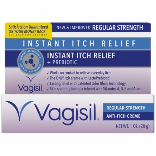 Vagisil Instant Itch Relief + Prebiotic Regular Strength Anti-Itch Creme Perspective: front
