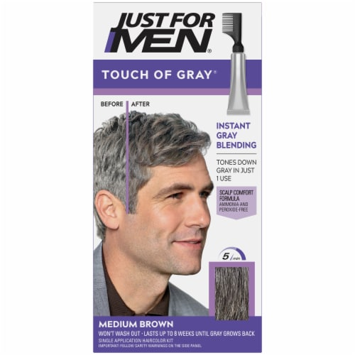 Just For Men Touch of Gray T-35 Medium Brown Hair Color Kit Perspective: front