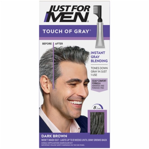 Just for Men Touch of Gray T-45 Dark Brown Hair Color Kit Perspective: front