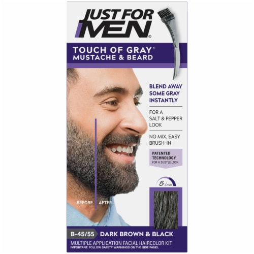 Just For Men Touch of Gray B-45/55 Dark Brown and Black Mustache and Beard Color Perspective: front