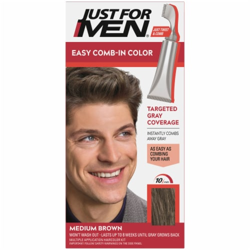 Just For Men AutoStop Comb-In A-35 Medium Brown No-Mix Hair Color Perspective: front