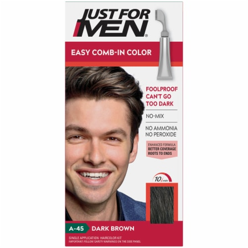 Just For Men AutoStop Comb-In A-45 Dark Brown No-Mix Hair Color Perspective: front