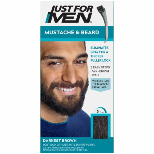 Just For Men Mustache & Beard M-50 Darkest Brown Hair Color Perspective: front