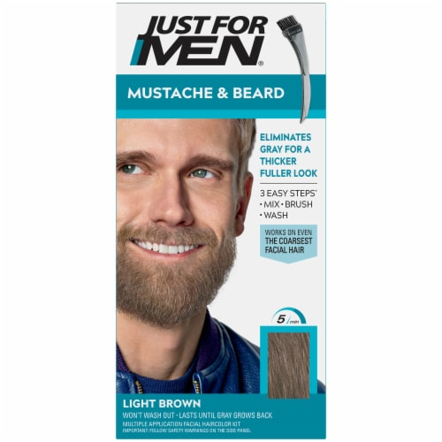 Just For Men Mustache & Beard M-25 Light Brown Hair Color Perspective: front