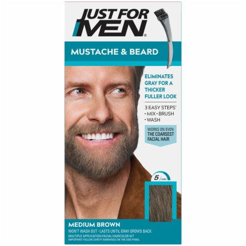 Just For Men Mustache & Beard M-35 Medium Brown Hair Color Perspective: front