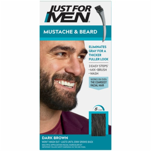 Just For Men Mustache and Beard M-45 Dark Brown Color Gel Perspective: front