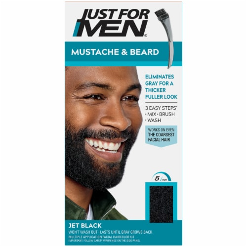 Just For Men Mustache & Beard M-55 Real Black Hair Color Perspective: front