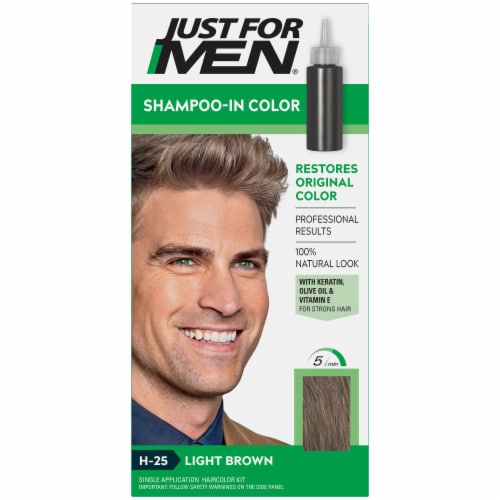 Just For Men H-25 Light Brown Shampoo-In Hair Color Treatment Perspective: front