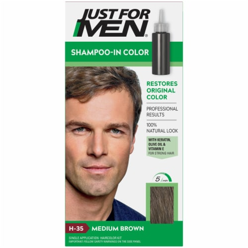 Just For Men Original Formula H-35 Medium Brown Shampoo-In Hair Color Perspective: front