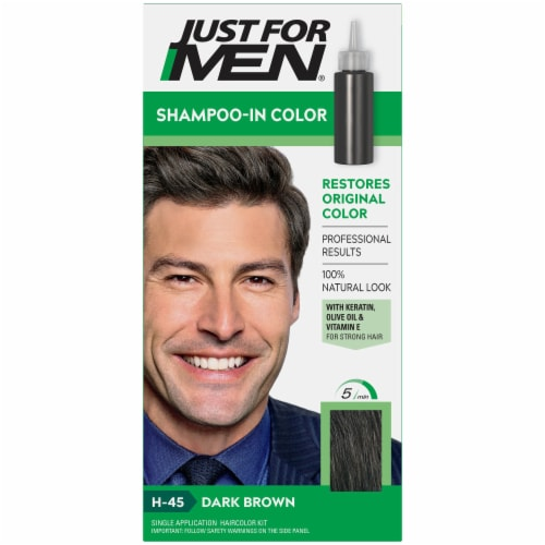 Just For Men H-45 Dark Brown Shampoo-In Hair Color Treatment Perspective: front