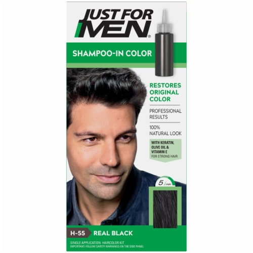 Just For Men H-55 Real Black Shampoo-In Hair Color Perspective: front