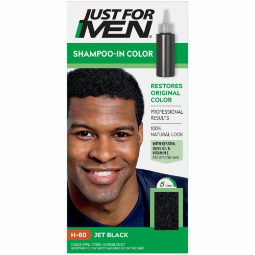 Just for Men H-60 Jet Black Shampoo-In Hair Color Perspective: front