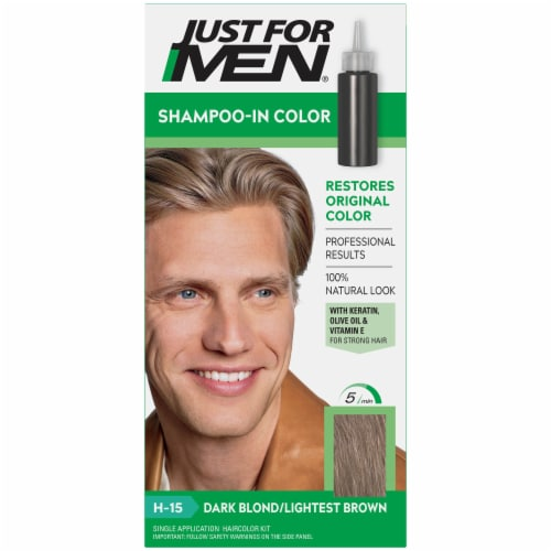 Just For Men H-15 Dark Blonde/Lightest Brown Shampoo-In Hair Color Perspective: front