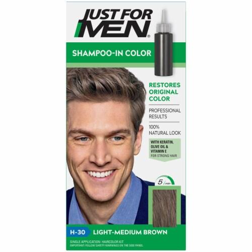 Just For Men Original Formula H30 Light Medium Brown Shampoo Hair Color Perspective: front