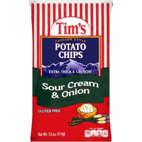 Tim's Cascade Style Extra Thick & Crunchy Sour Cream & Onion Potato Chips Perspective: front